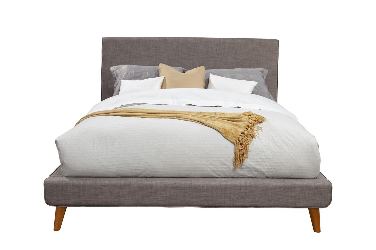 Britney Queen Upholstered Platform Bed in Dark Grey - Alpine Furniture 1296Q
