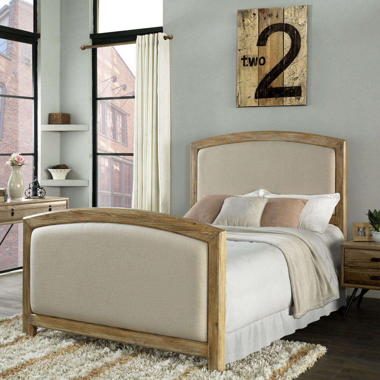Crosley Brands Cambria King Headboard Footboard Weathered Pine Crme Linen