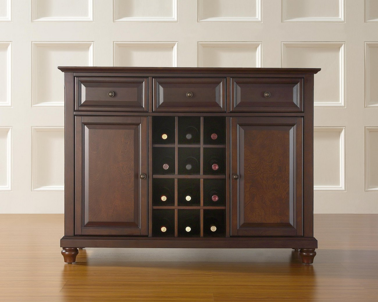 Picture of: Cambridge Buffet Server Sideboard Cabinet W Wine Storage In Vintage Mahogany Finish Crosley Kf42001dma