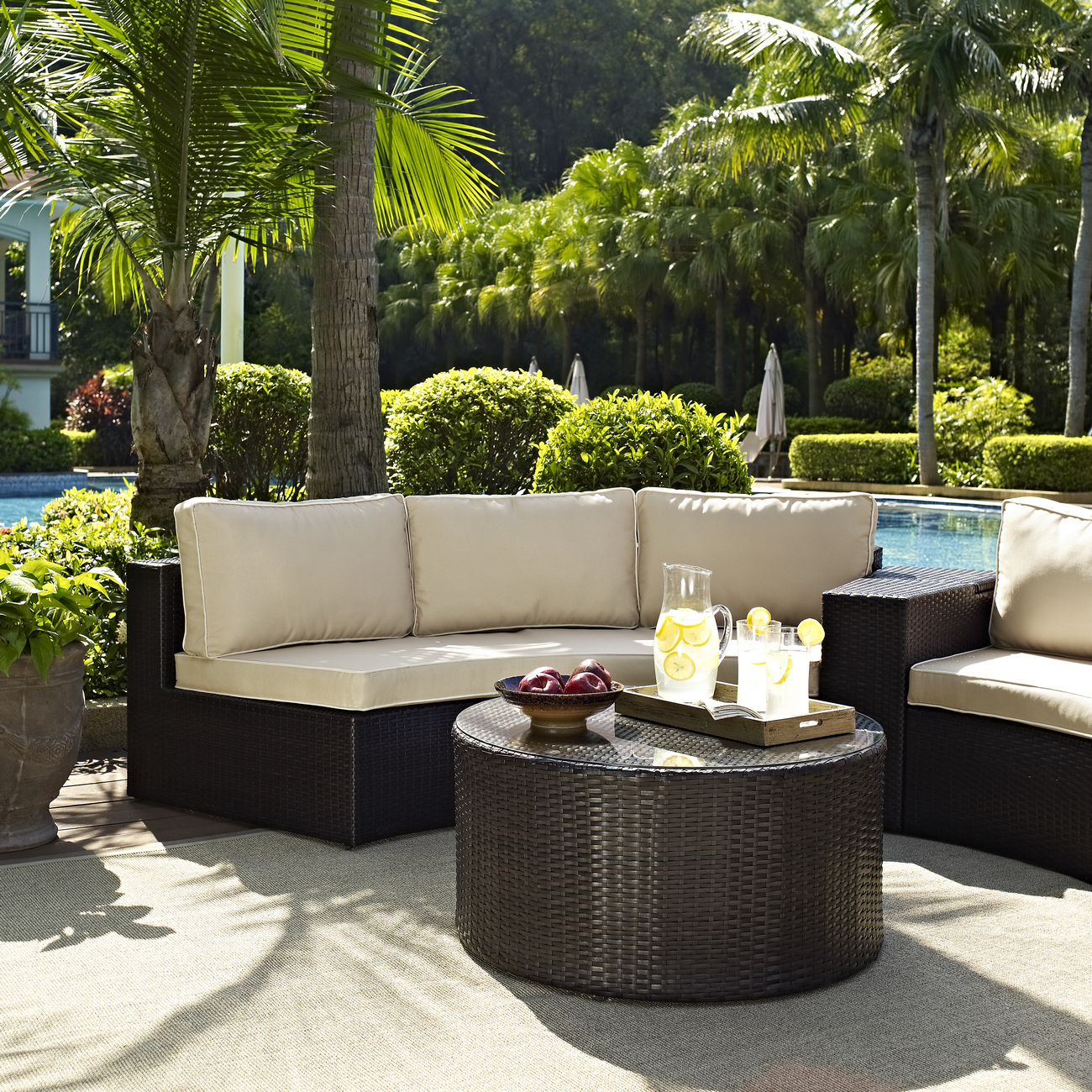 Cushion | Outdoor | Coffee | Glass | Piece | Round | Table | Sofa | Seat | Set | Top