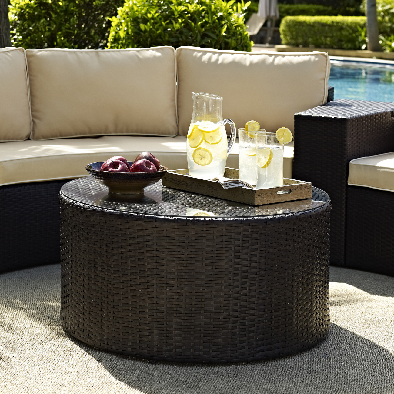 Outdoor | Coffee | Glass | Round | Table | Top