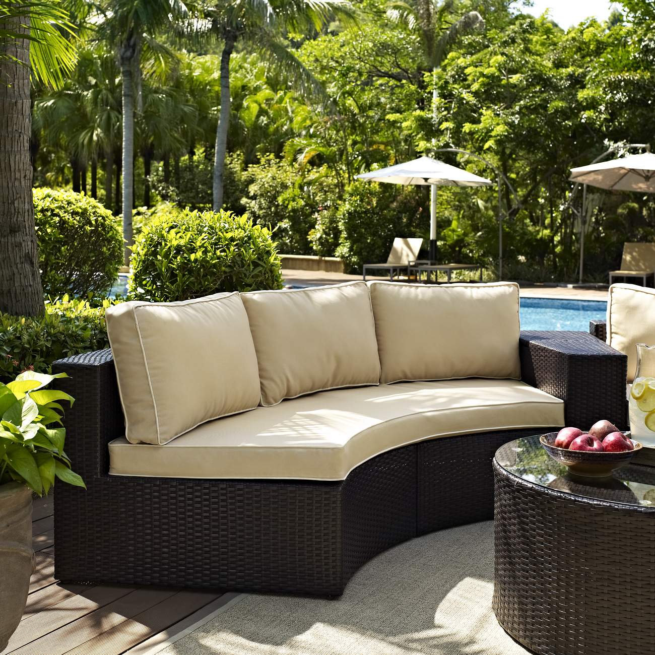 Crosley Brands Outdoor Wicker Round Sectional Sofa Sand Cushions