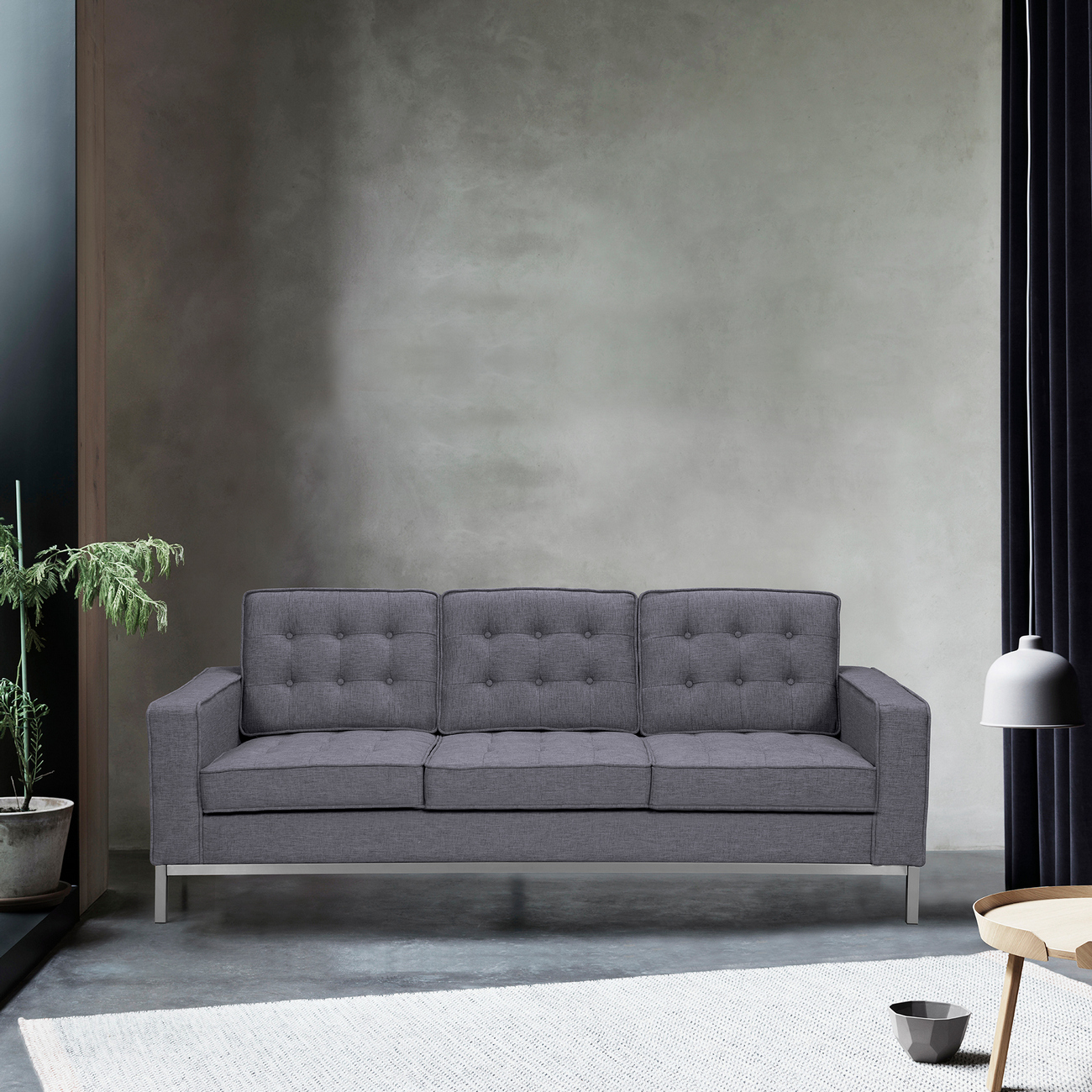Armen Living Chandler Contemporary Sofa Brushed Stainless Steel