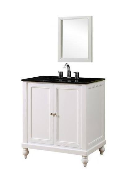 J J Classic Pearl White Vanity Black Granite Mirror