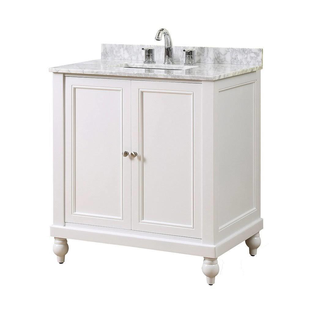 "Classic 32"" Pearl White Vanity w/ White Carrara Marble Top - JJ-32S9-WWC"