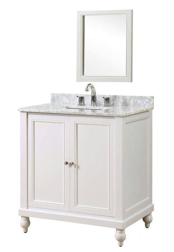 "Classic 32"" Pearl White Vanity w/ White Carrara Marble Top & Mirror - JJ-32S9-WWC-M"