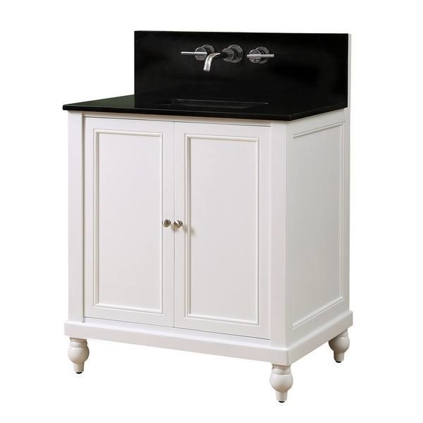 "Classic Premium 32"" Pearl White Vanity w/ Black Granite Top - JJ-32S9-WBK-WM"