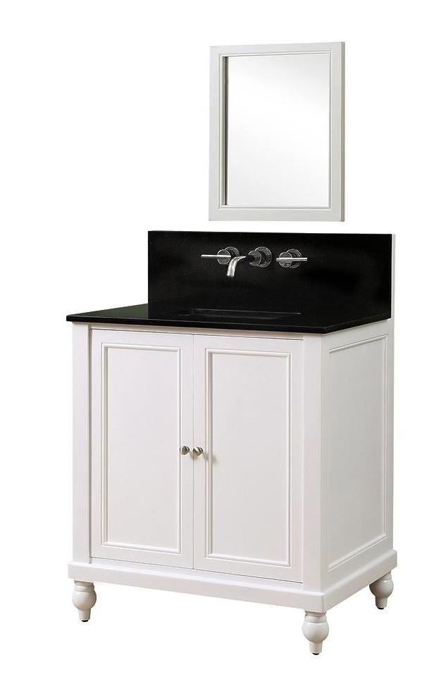 "Classic Premium 32"" Pearl White Vanity w/ Black Granite Top & Mirror - JJ-32S9-WBK-WM-M"