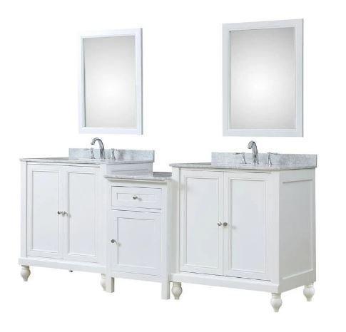 Classic Spa 83 In. Bath & Makeup Hybrid Vanity In White w/ Marble Vanity Top In Carrara White w/ White Basin & Mirrors - JJ-2S9-WWC-MU1