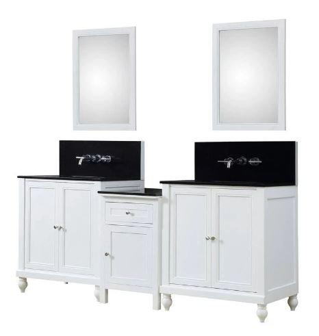 Classic Spa Premium 83 In. Bath & Makeup Hybrid Vanity In White w/ Granite Vanity Top in Black w/ White Basin & Mirrors - JJ-2S9-WBK-WM-MU1