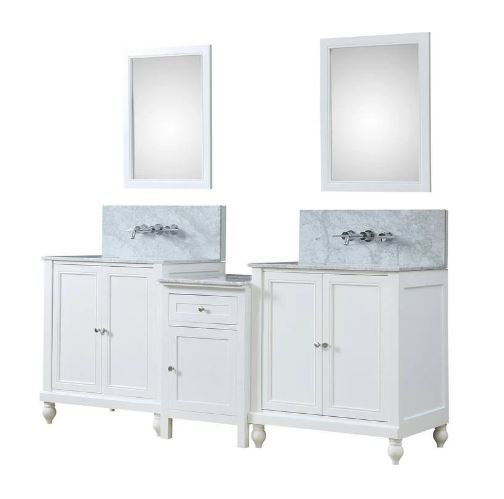 Classic Spa Premium 83 In. Bath & Makeup Hybrid Vanity In White w/ Marble Vanity Top In Carrara White w/ White Basin & Mirrors - JJ-2S9-WWC-WM-MU1