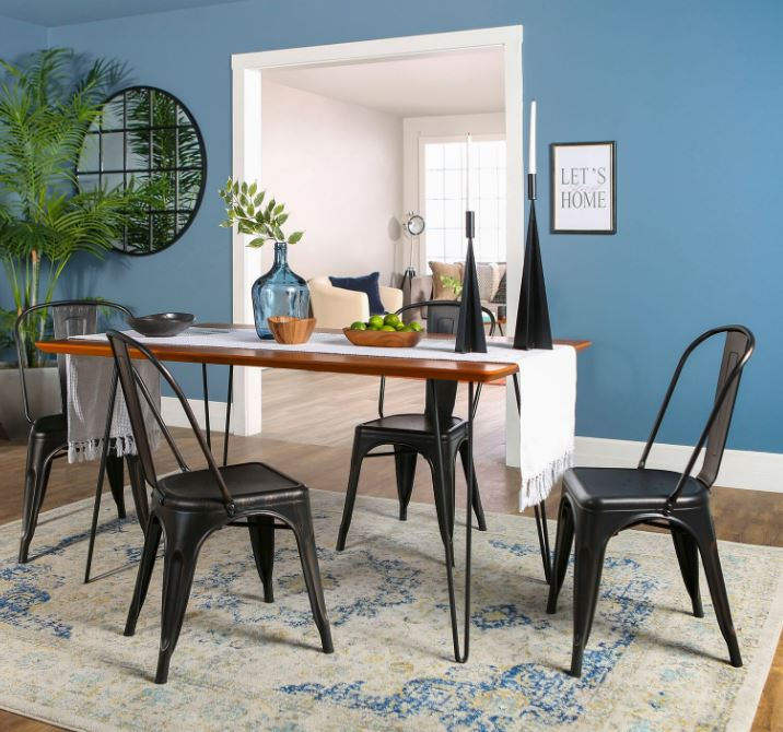 Walker Edison Furniture Square Dining Set Chairs Photo