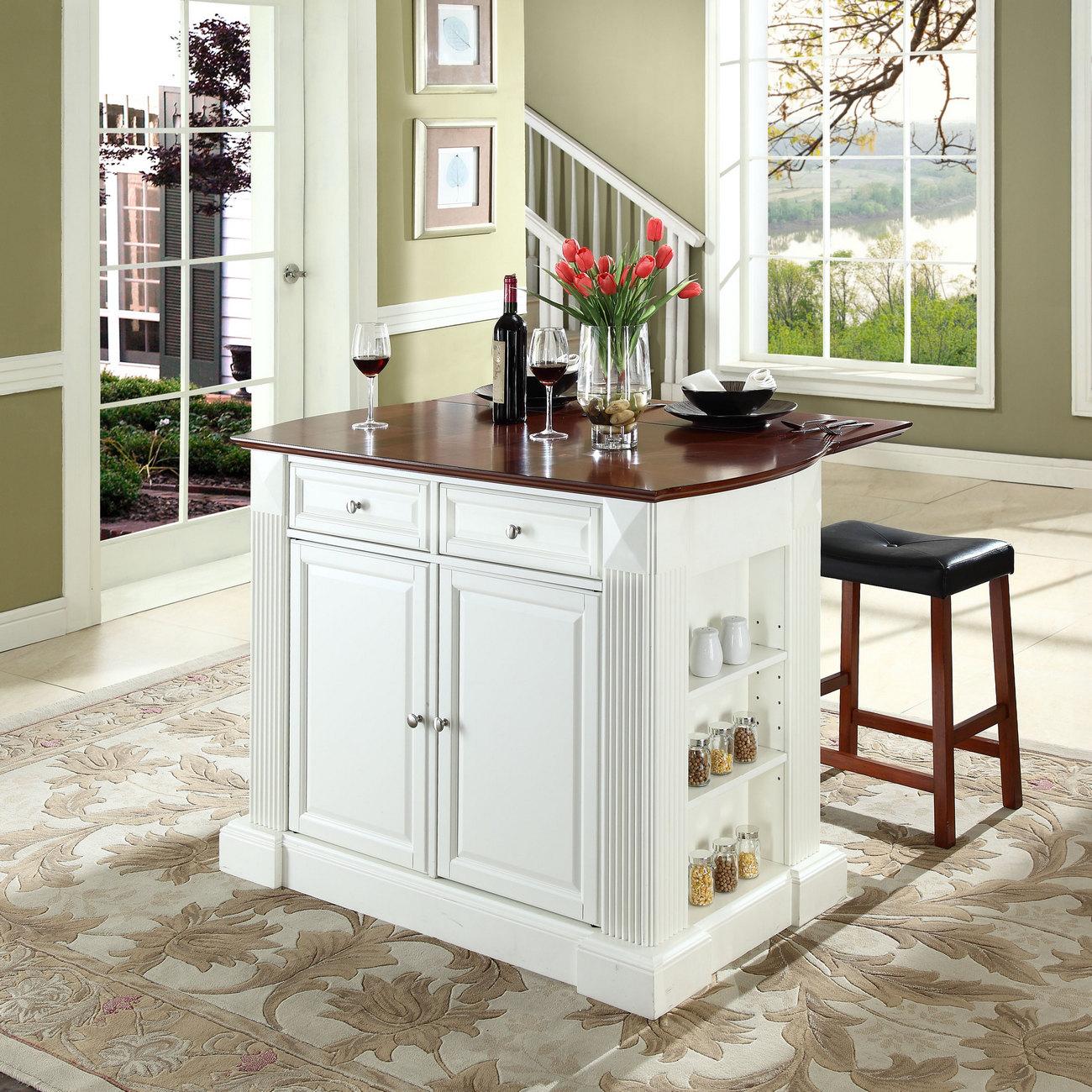 Crosley Brands Coventry Drop Leaf Breakfast Bar Kitchen Island White
