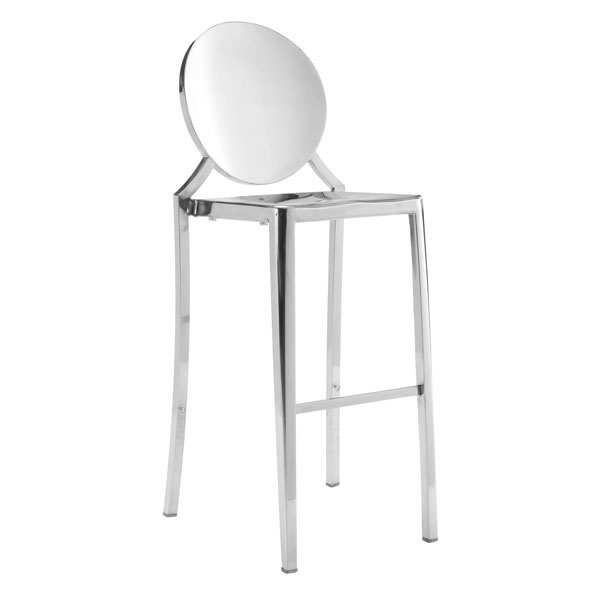 Zuo Eclispe Bar Chair Stainless Steel