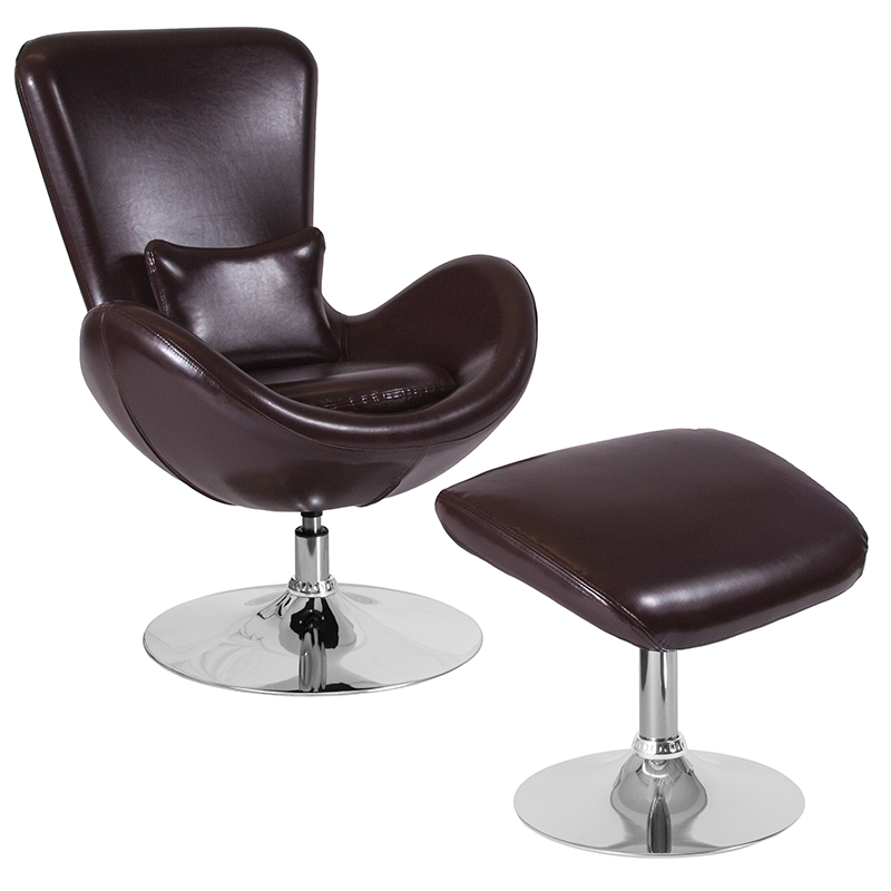 Egg Series Brown Leather Side Reception Chair W/ Ottoman - Flash Furniture Ch-162430-co-bn-lea-gg