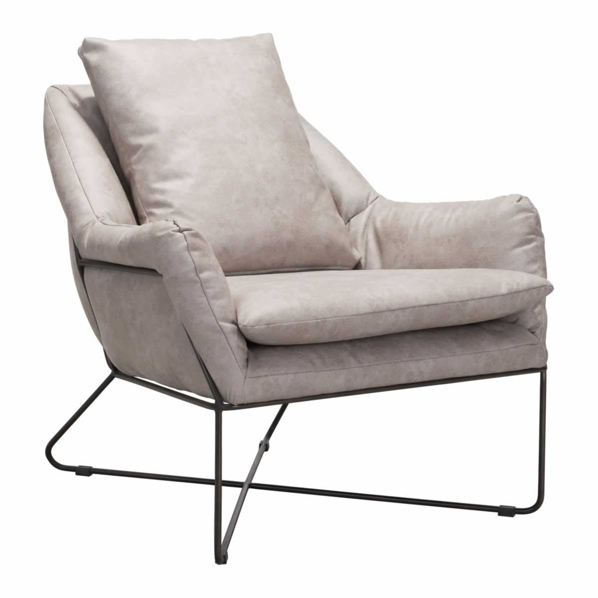 Zuo Finn Lounge Chair Distressed Gray