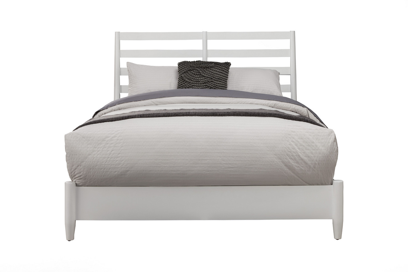 Alpine Retro Queen Bed White Slat Back Headboard