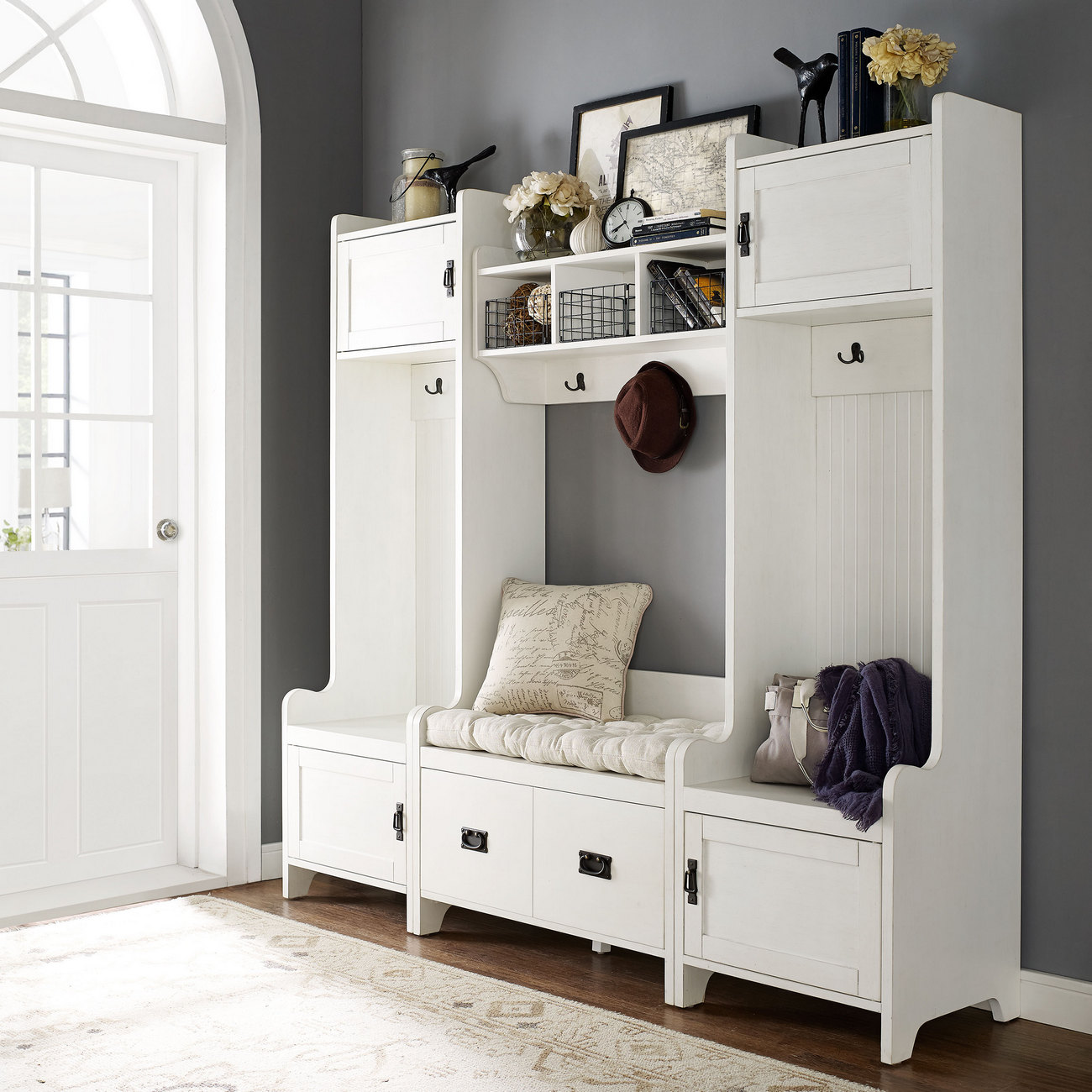 Crosley Fremont Entryway Kit Two Towers Bench Shelf White
