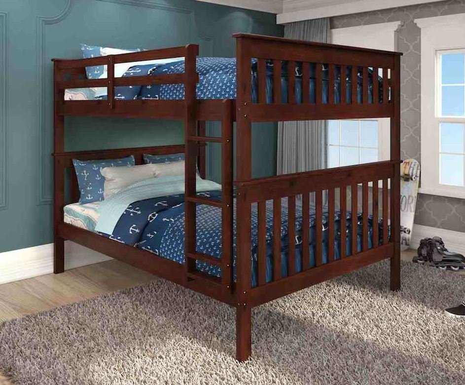 Full Over Full Mission Bunkbed in Dark Cappuccino - Donco 123-3-FFCP
