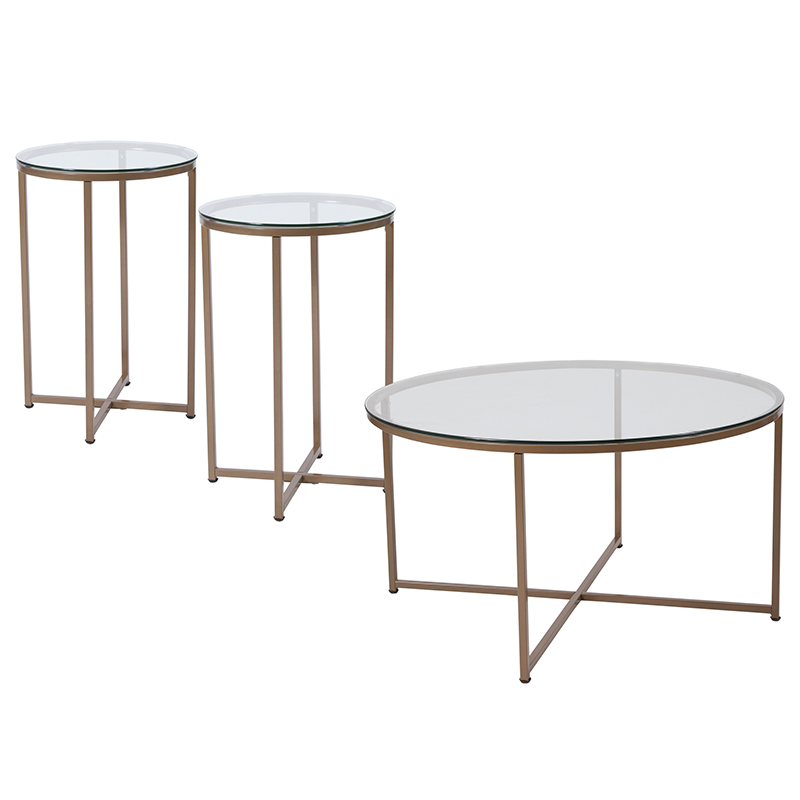 Collection | Furniture | Coffee | Flash | Matte | Glass | Table | Frame | Gold | Set | Top