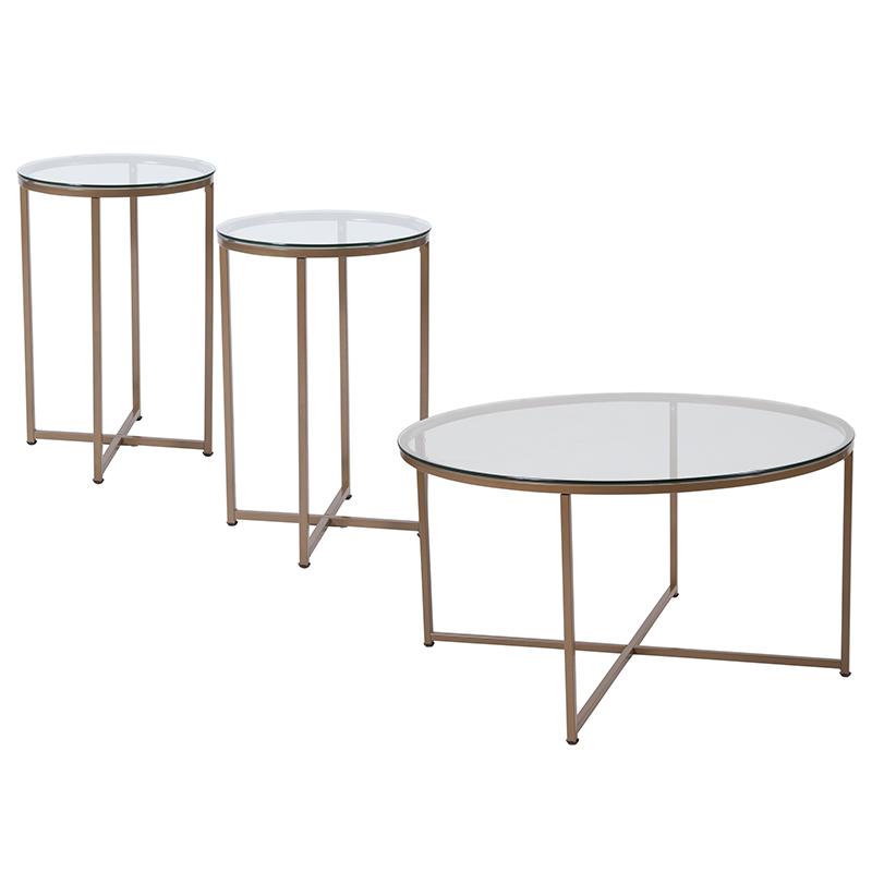 Greenwich Collection 3-pc Coffee & End Table Set W/ Glass Tops & Matte Gold Frames - Flash Furniture Nan-cek-10-gg