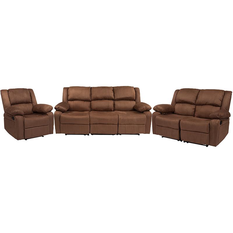 Flash Harmony Chocolate Brown Microfiber Reclining Sofa Set
