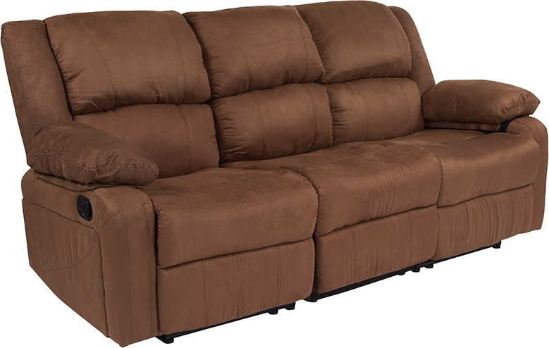 Flash Brown Microfiber Sofa Two Built Recliners Product Picture