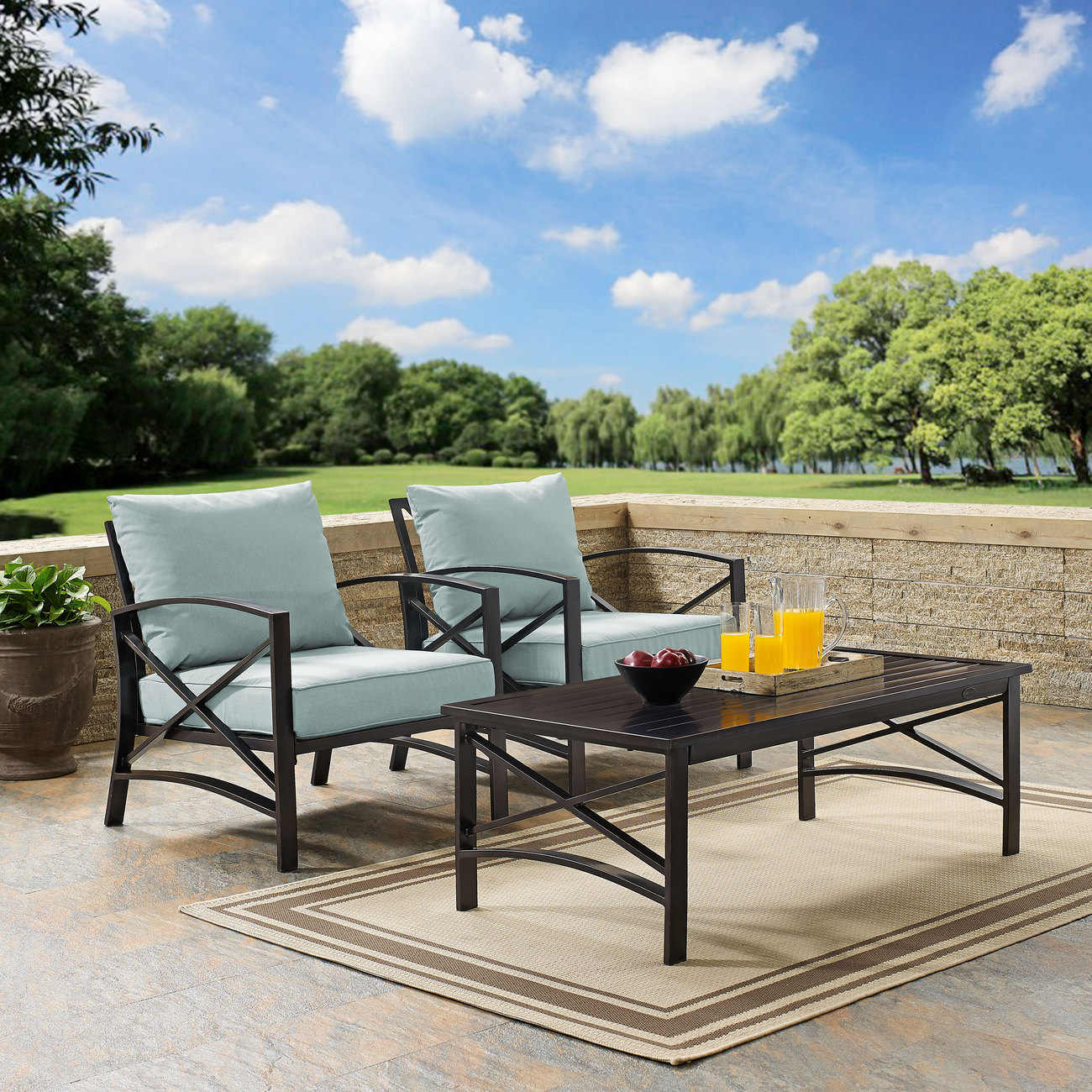 Crosley Brands Furniture Outdoor Seating Set Mist Photo
