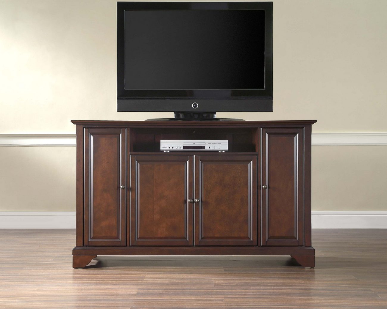 Crosley Brands Lafayette Tv Stand Vintage Mahogany Finish