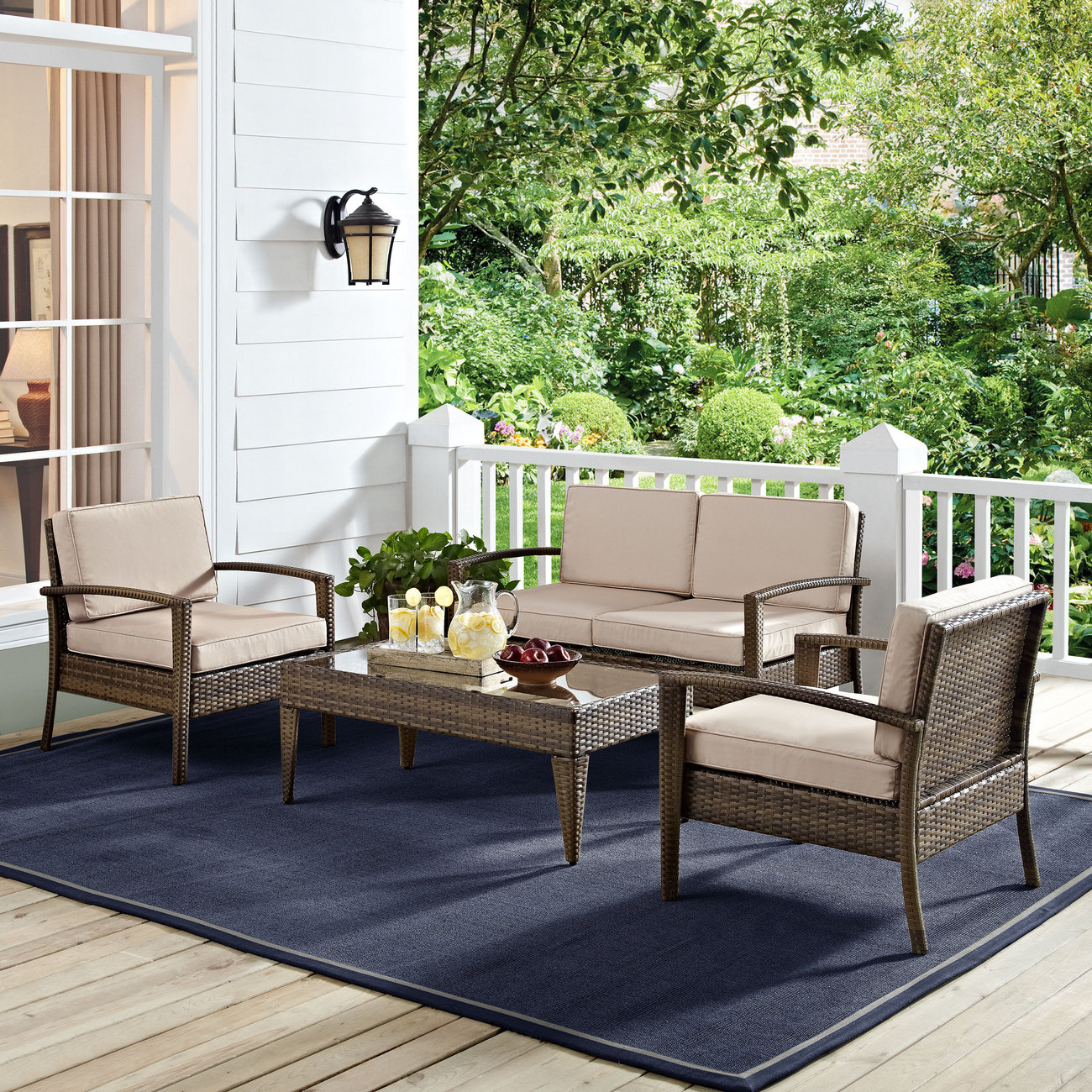 Crosley Brands Conversation Set Outdoor Wicker