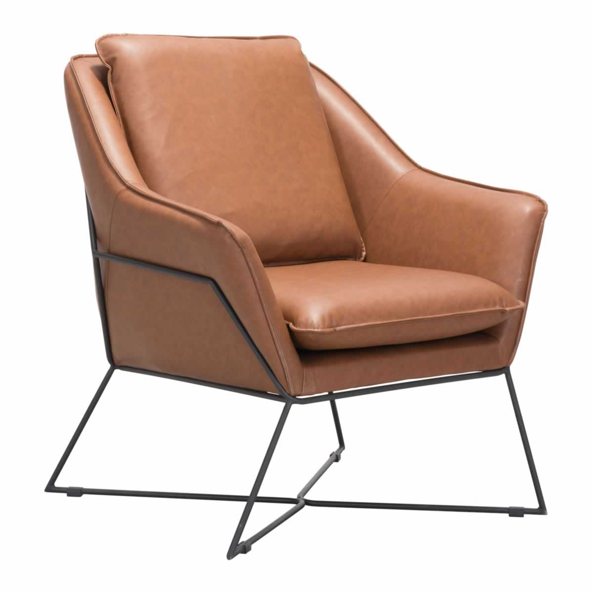 Zuo Lincoln Lounge Chair Saddle