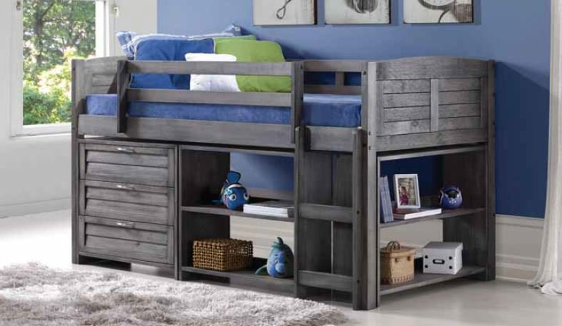 Donco Kids Louver Antique Grey Low Twin Loft Combo