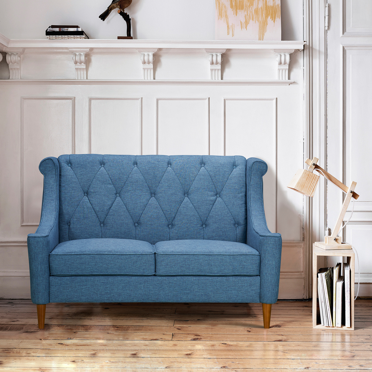 Armen Living Luxe Mid Century Loveseat Champagne Wood Finish Blue Fabric