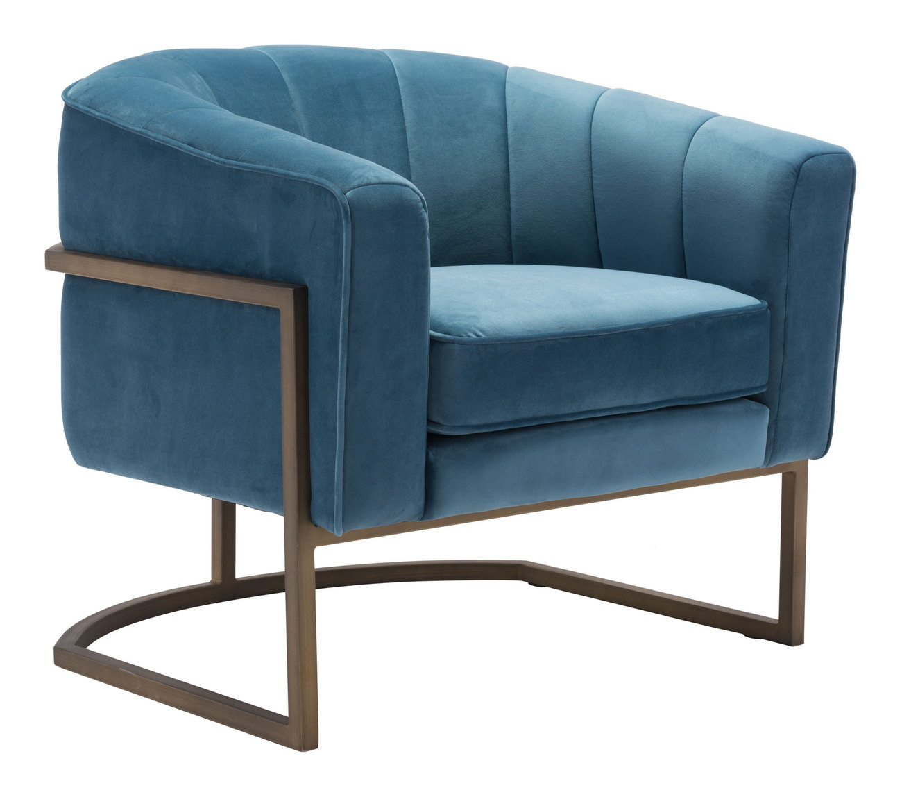Zuo Lyric Occasional Chair Blue Velvet