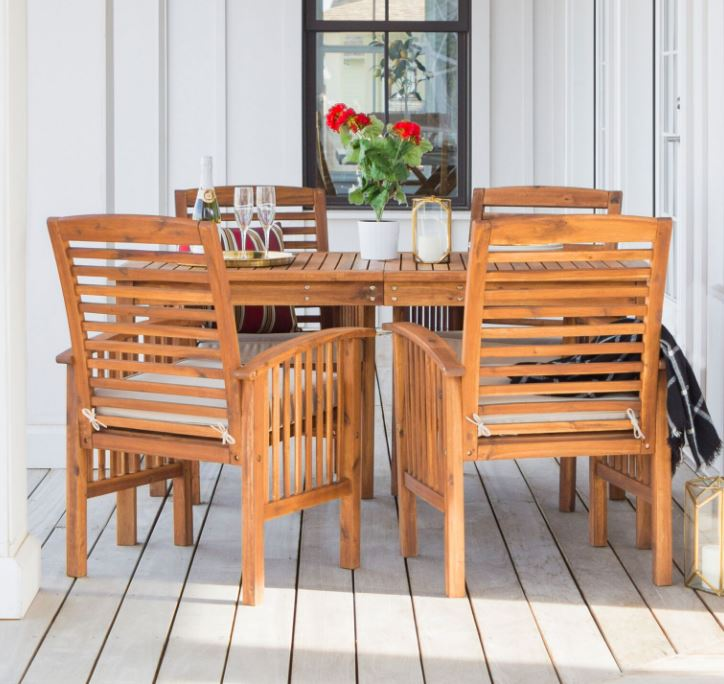 Walker Edison Outdoor Traditional Wood Dining Set Patio