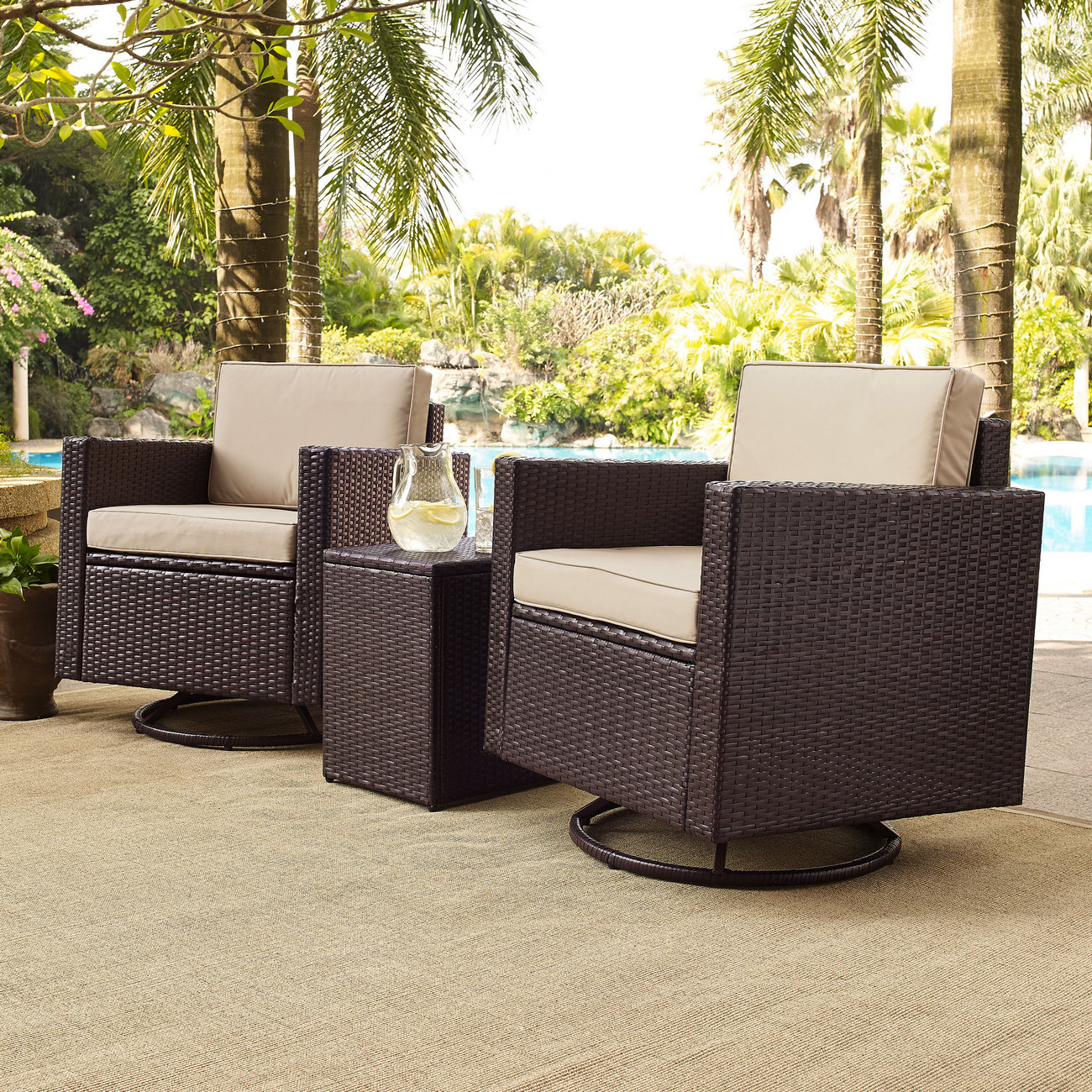 Crosley Brands Palm Harbor Outdoor Wicker Conversation Set Sand Cushions