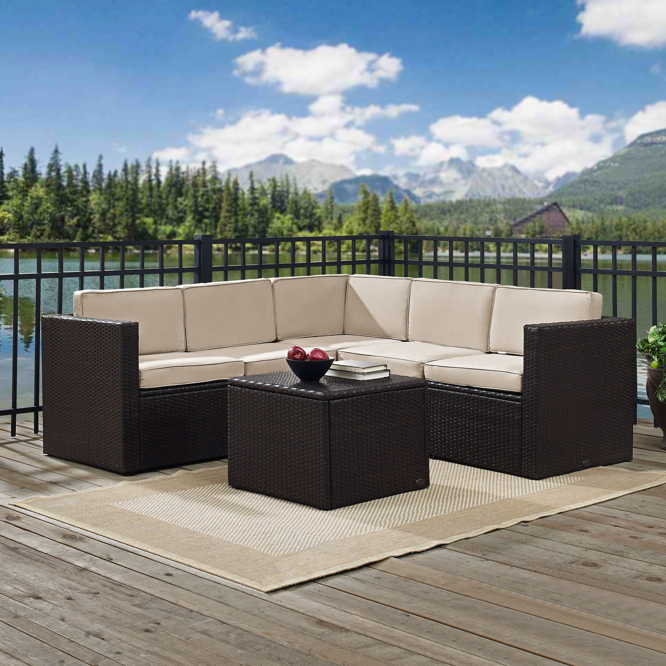 Outdoor Wicker Seating Set Sand Cushions Three Corner Chairs Two Center Chairs Coffee Sectional Table