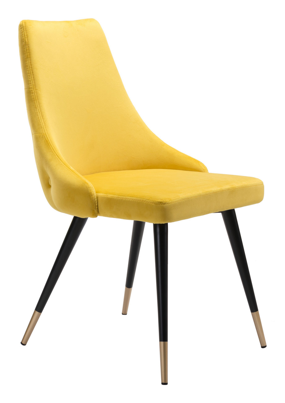 Zuo Piccolo Dining Chair Yellow Velvet