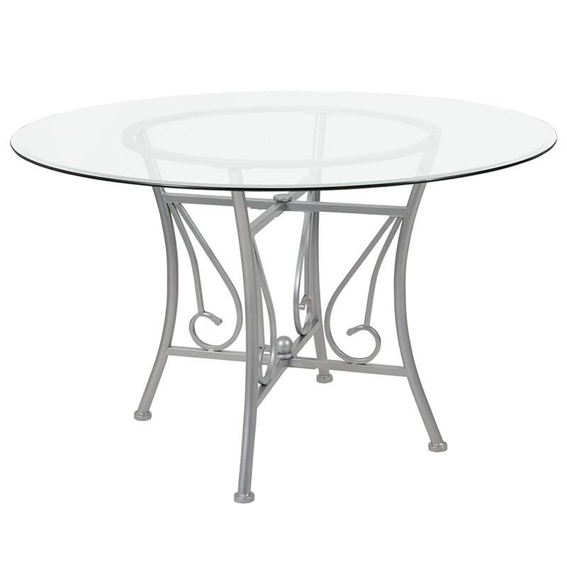 Furniture | Silver | Glass | Table | Frame | Dine