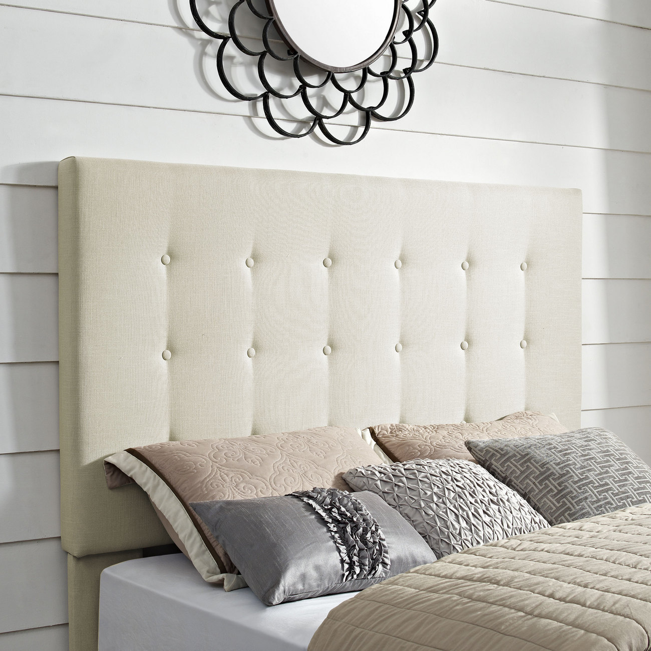 Reston Square Upholstered Fullqueen Headboard In Creme Linen Crosley Cf90005 501cr