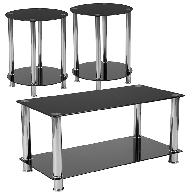 Collection | Stainless | Furniture | Coffee | Flash | Steel | Glass | Table | Frame | Black | Set | Top