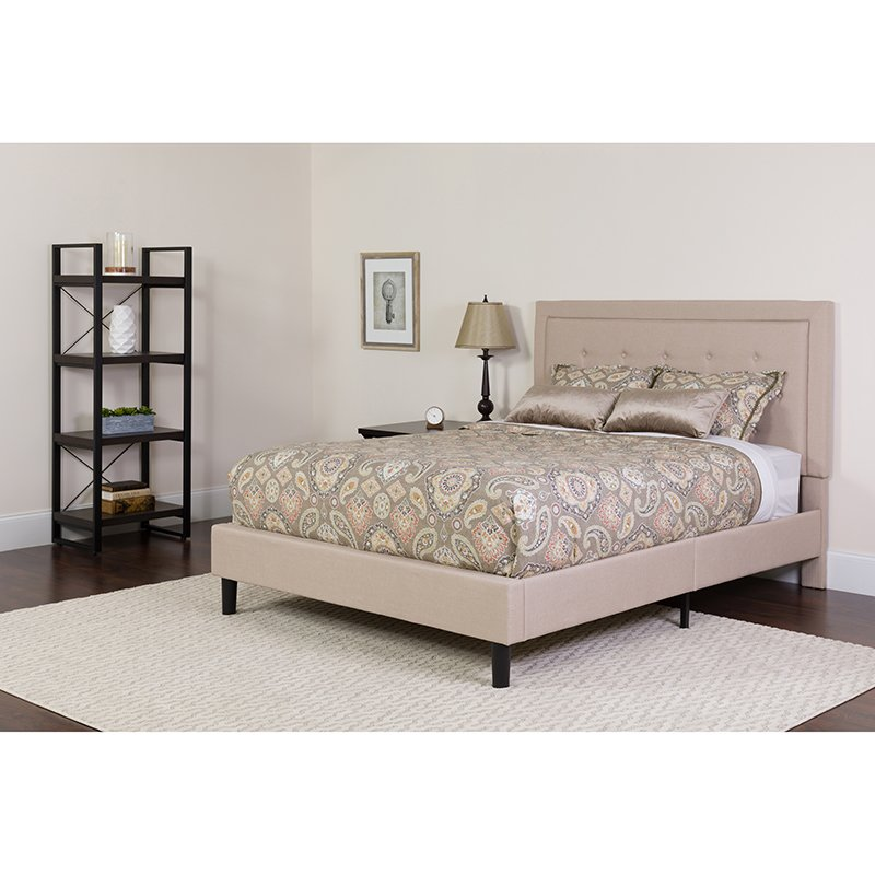 Upholster | Furniture | Mattress | Platform | Tufted | Fabric | Flash | Beige | Twin | Size | Bed