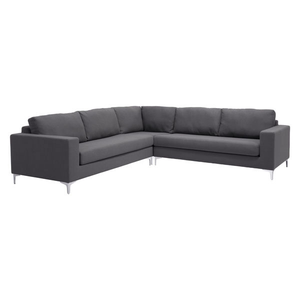 Zuo Ruskin Sectional Charcoal Gray