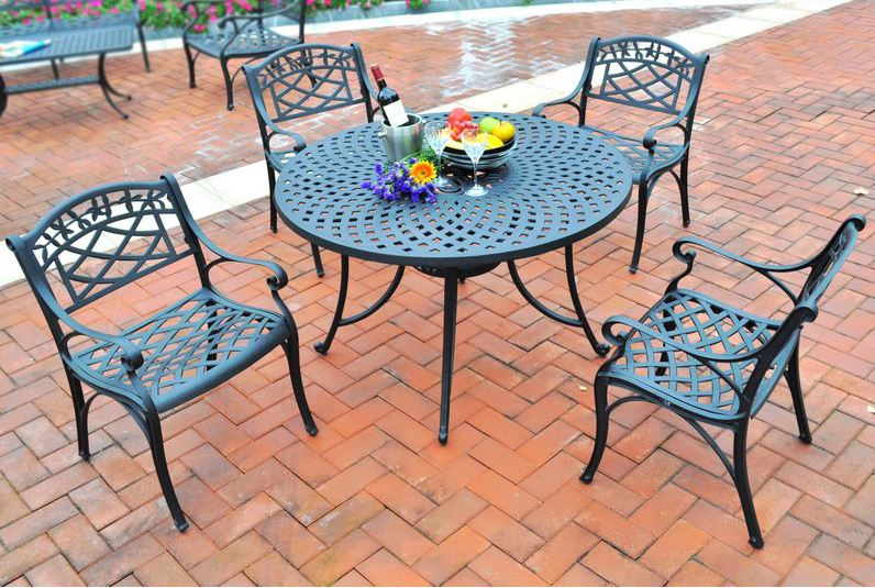 Five Cast Aluminum Outdoor Dining Set Arm Chairs