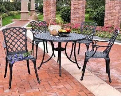Five Cast Aluminum Outdoor Dining Set High Back Arm Chairs