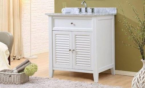 "Shutter 32"" White Vanity w/ Carrara White Marble Top - JJ-32S12-WWC"