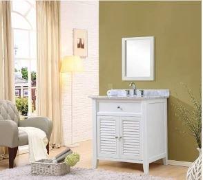 J J Shutter White Vanity Carrara White Marble Mirror