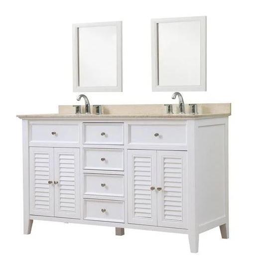 J J Shutter White Vanity Beige Marble Mirrors