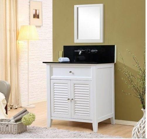 J J Shutter Premium White Vanity Black Granite Mirror