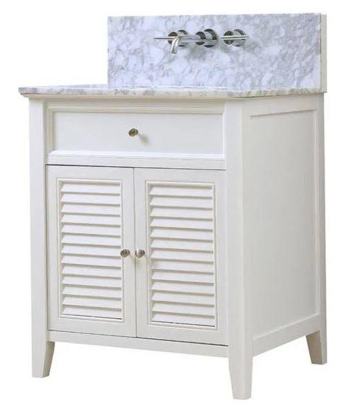 J J Shutter Premium White Vanity Carrara White Marble Top